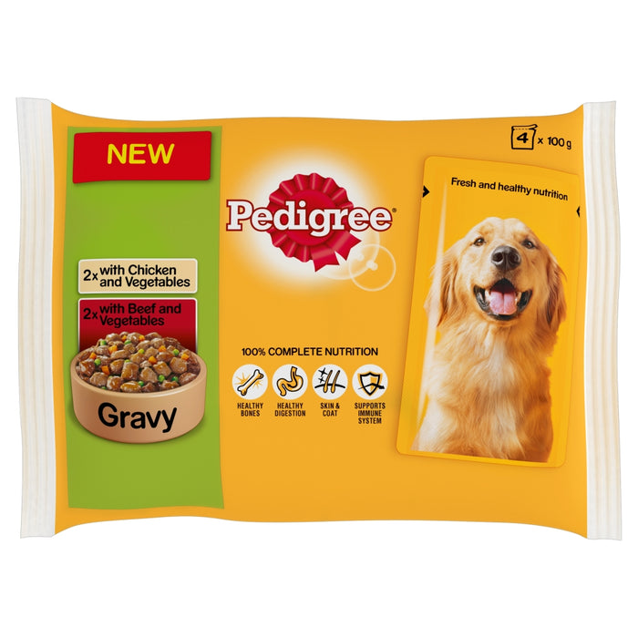 Pedigree Chicken/Beef & Veg in Gravy Dog Pouches - 4x100g