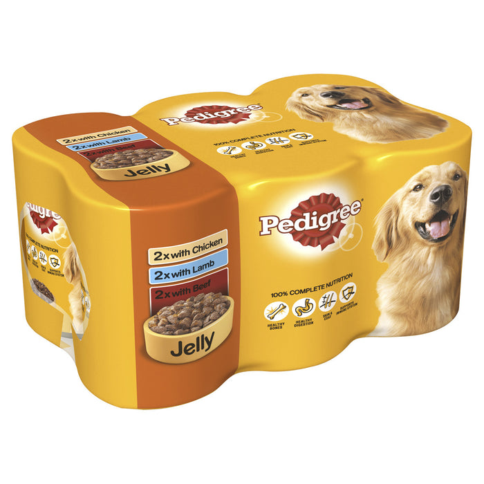Pedigree Chunks in Jelly Dog Cans 6 Pack - 400g