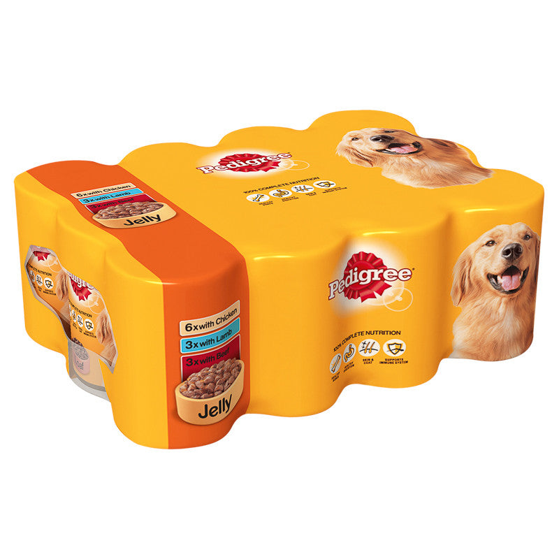 Pedigree Mixed Chunks in Jelly Wet Dog Food Cans - 12 x 385g