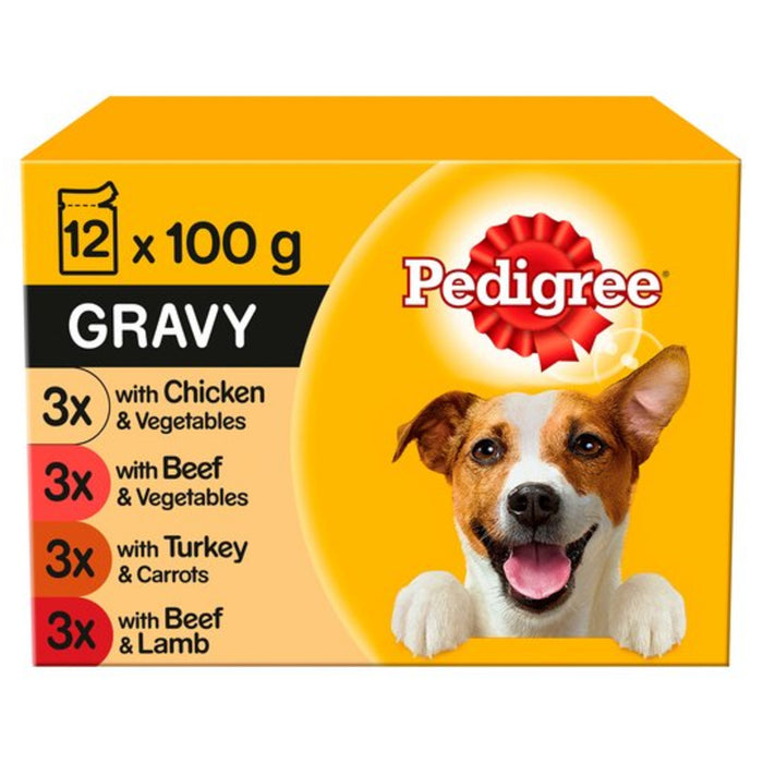 Pedigree Real Meals in Gravy Dog Pouches 12 Pack - 100g