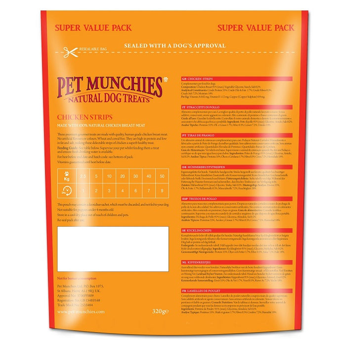 Pet Munchies Chicken Strips Super Value Pack Natural Dog Treats - 320g 2