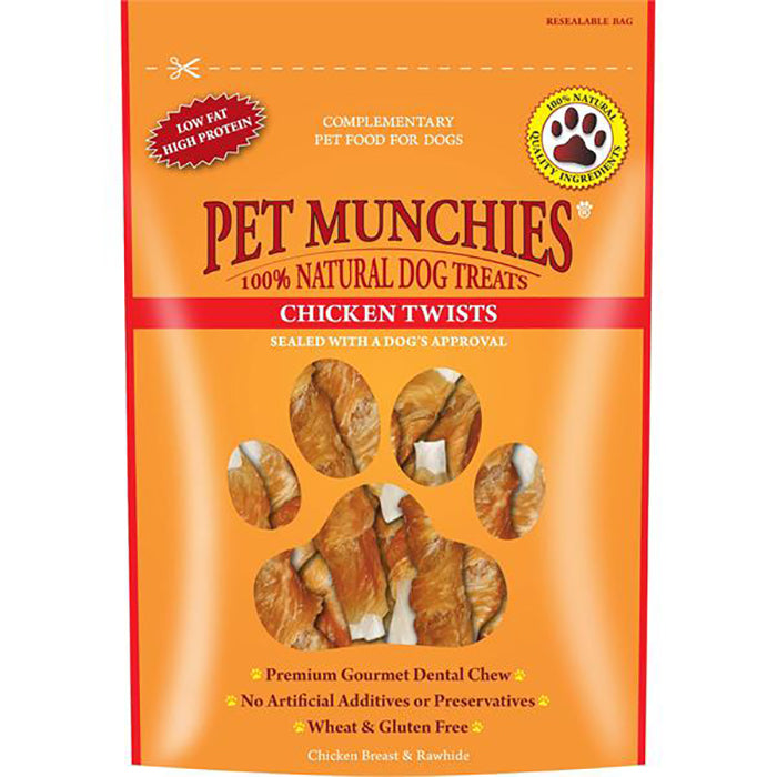 Pet Munchies Chicken Twists Natural Dog Treats - 80g