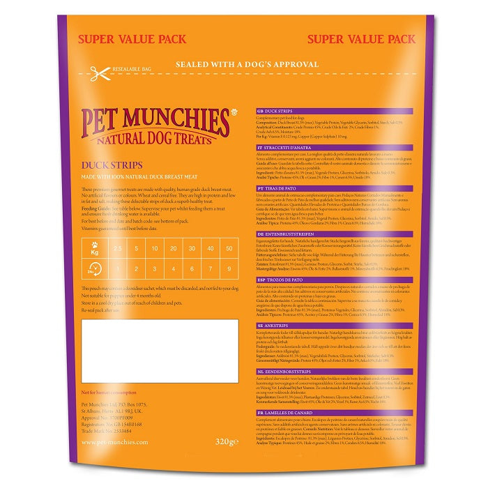 Pet Munchies Duck Strips Super Value Pack Natural Dog Treats - 320g 2