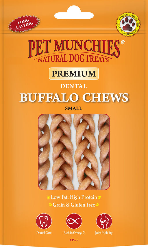 Pet Munchies Natural Buffalo Dental Chew 4 Pack Small
