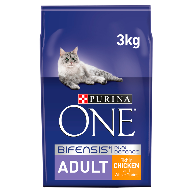 Purina ONE Adult Chicken and Whole Grains Dry Cat Food 3kg 1