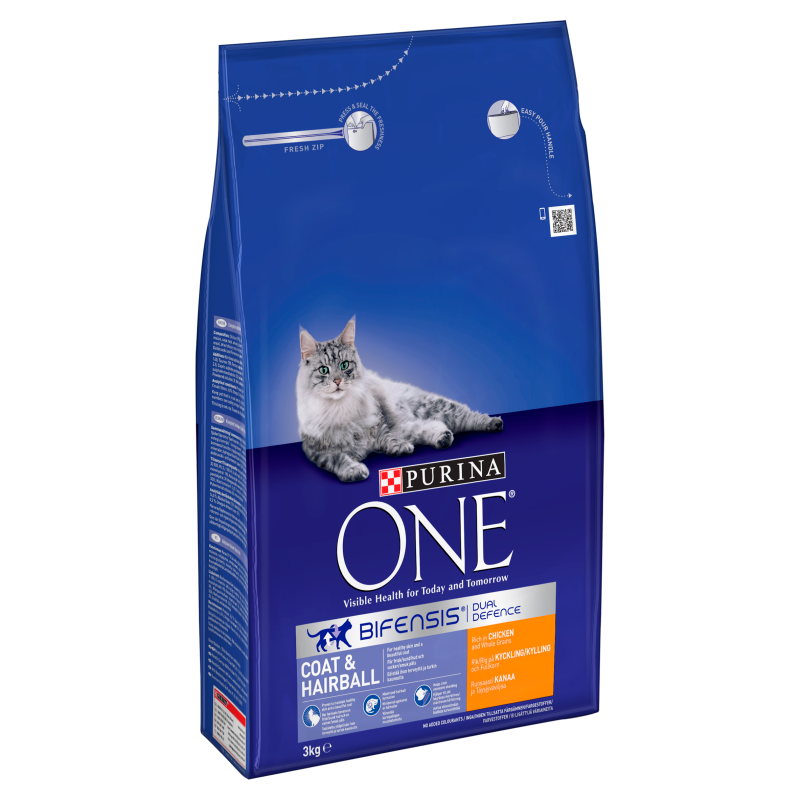 Purina ONE Adult Coat & Hairball Dry Cat Food - 3kg