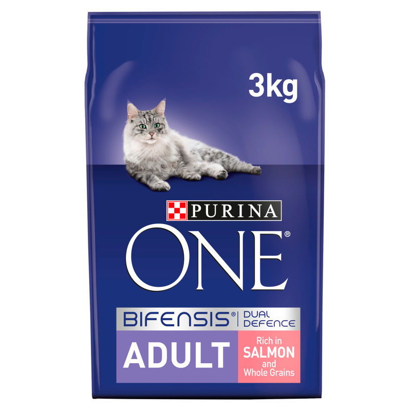 Purina ONE Adult Salmon and Whole Grains Dry Cat Food 3kg 1
