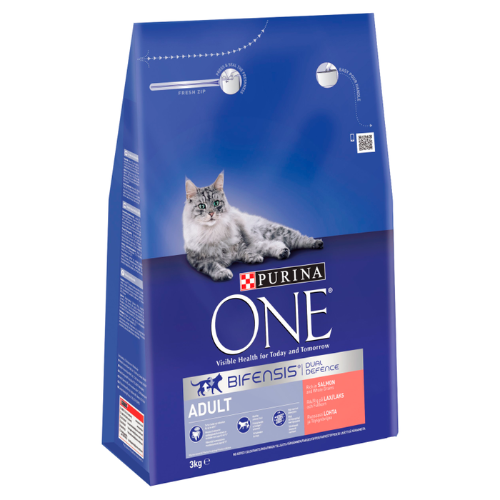 Purina ONE Adult Salmon and Whole Grains Dry Cat Food 3kg 2