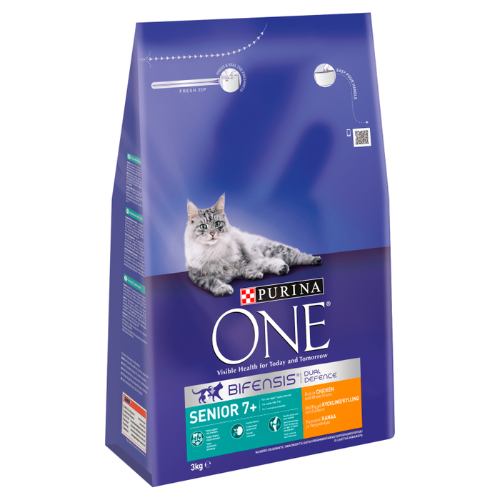Purina ONE Senior 7+ Chicken and Whole Grains Dry Cat Food 3kg 2