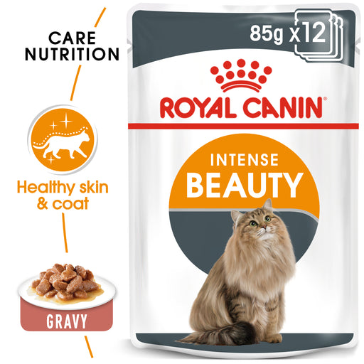 Royal Canin Intense Beauty Care In Gravy Adult Wet Cat Food Pouches - 12 x 85g