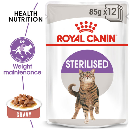Royal Canin Feline Adult Sterilised in Gravy Wet Cat Food Pouches - 12 x 85g