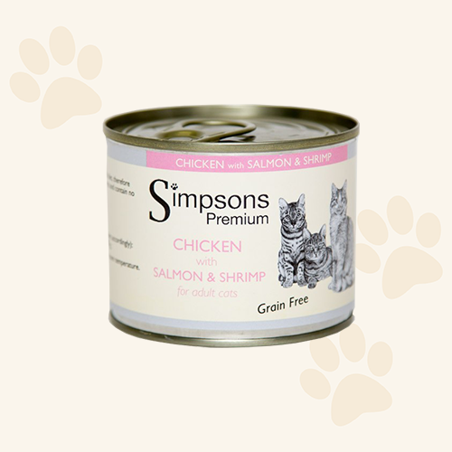 Simpsons Grain Free Chicken with Salmon and Shrimp Cat Food Can - 6 x 200g