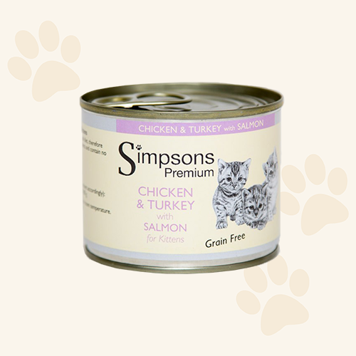 Simpsons Grain Free Kitten Chicken & Turkey with Salmon Cat Food Can - 6 x 200g