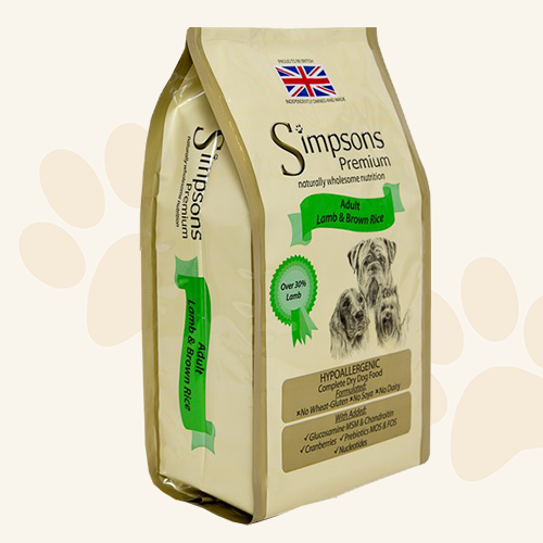 Simpsons Grain Free Lamb & Brown Rice Dry Dog Food - 2kg