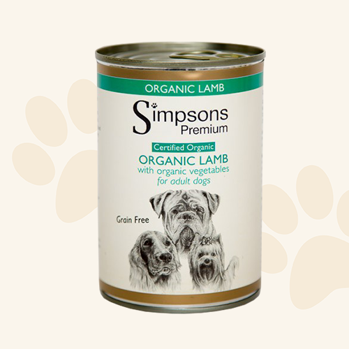 Simpsons Grain Free Dog Organic Lamb Wet Food - 6 x 400g