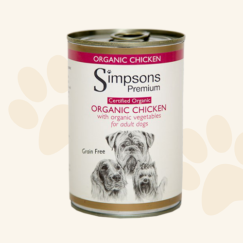 Simpsons Grain Free Organic Chicken Dog Food Can - 6 x 400g