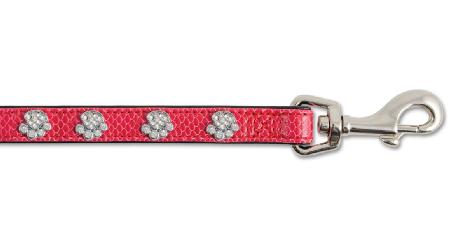Sparkly Paw Crock Leather Lead Cerise 1m X16mm