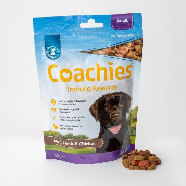 Coachies Adult Beef/ Lamb & Chicken Training Dog Treats - 200g