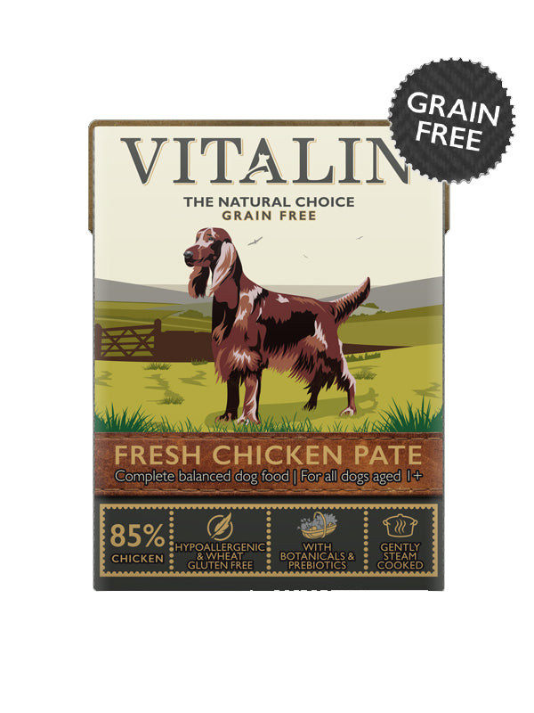 Vitalin Grain Free Chicken Pate for Dogs - 12 x 375g