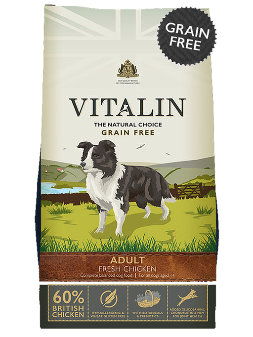 Vitalin Natural 60% Fresh Chicken Grain Free Adult Dry Dog Food 12kg