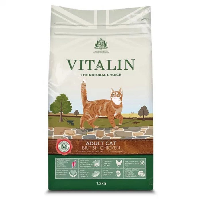 Vitalin Natural Adult Cat Food with Chicken 1.5Kg