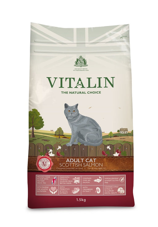 Vitalin Natural Adult Cat Food with Salmon 1.5Kg