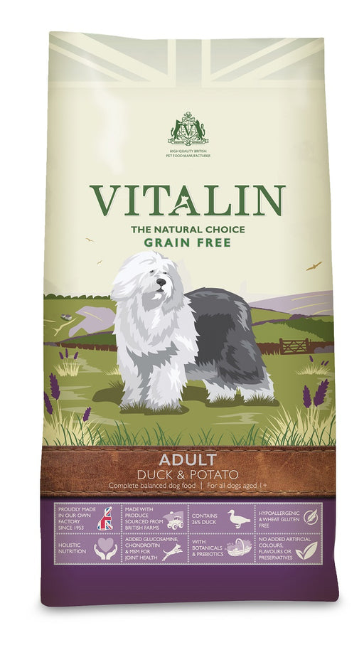 Vitalin Natural Adult Grain Free Duck & Potato Dry Dog Food - 12Kg