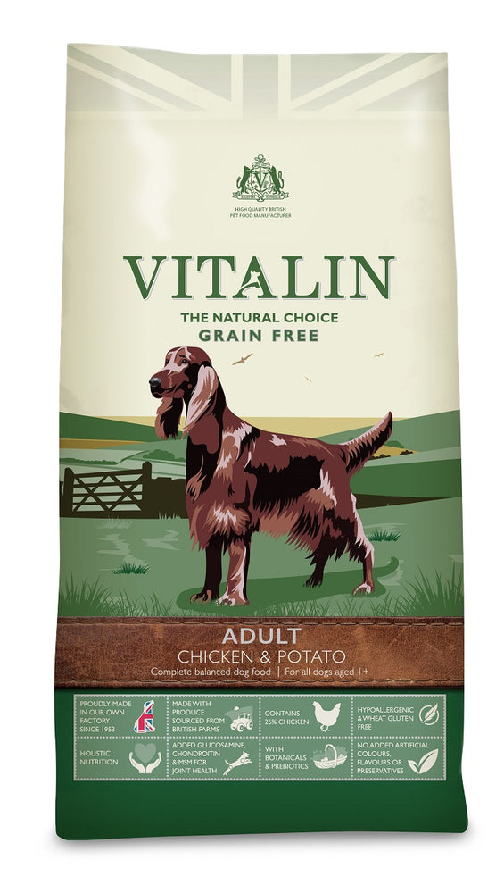 Vitalin Natural Chicken & Potato Grain Free Adult Dry Dog Food - 12kg