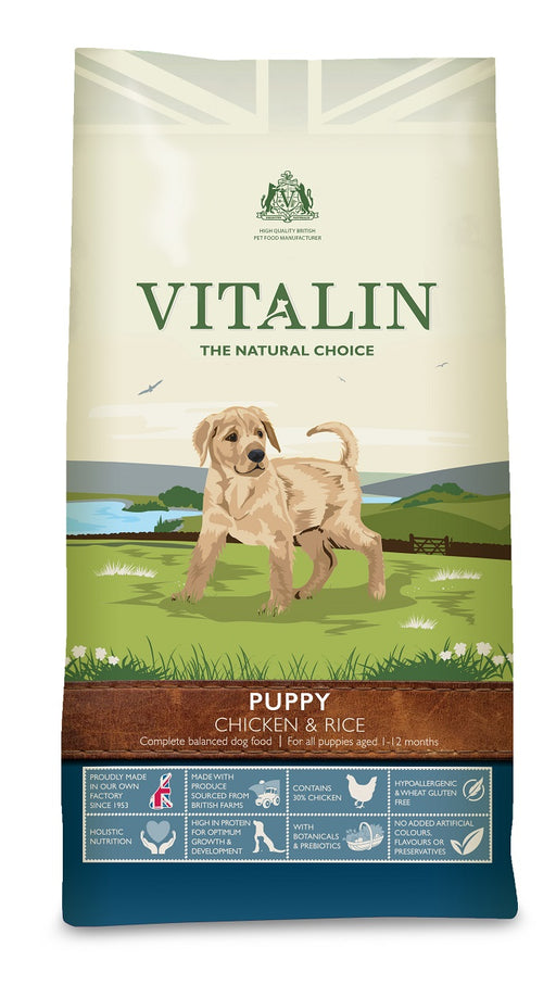 Vitalin Natural Chicken & Rice Dry Puppy Food 12kg