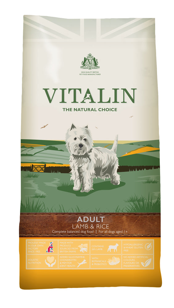 Vitalin Natural Lamb & Rice Dry Dog Food - 2kg