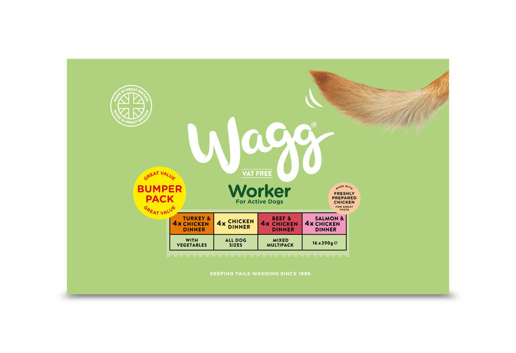 Wagg Working Dog Bumper Multipack Wet Dog Food Trays - 16 x 390g