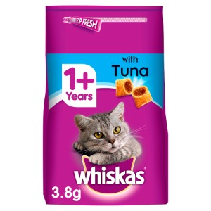 Whiskas 1+ Complete Adult Tuna Dry Cat Food - 3.8kg
