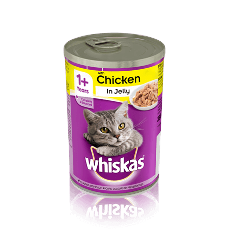 Whiskas Adult 1+ Chicken in Jelly Wet Cat Food Cans - 12 x 390g
