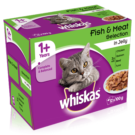Whiskas Fish & Meat Selection in Jelly Cat Pouches 100g - 12 Pack