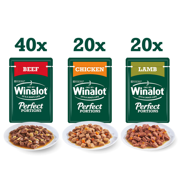 Winalot Perfect Portions Beef/ Chicken & Lamb in Gravy Wet Dog Food Pouches - 80 x 100g