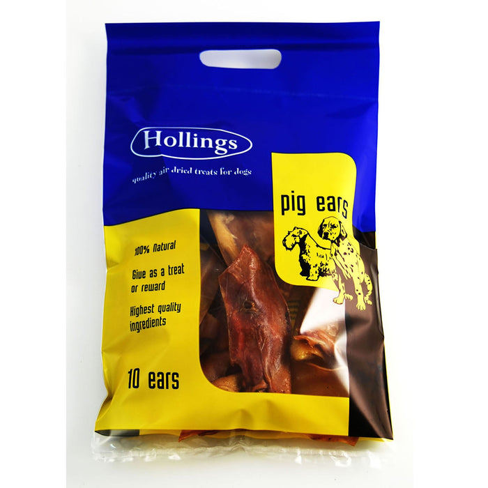 Hollings Pigs Ears Carry Bag Natural Dog Chews 1x10 Pack