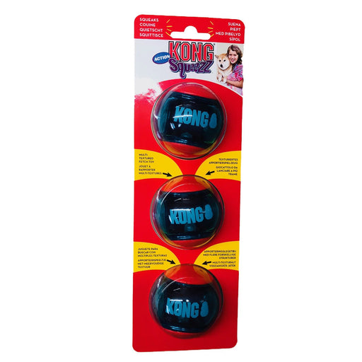 KONG Squeezz Action Red Balls Dog Toy