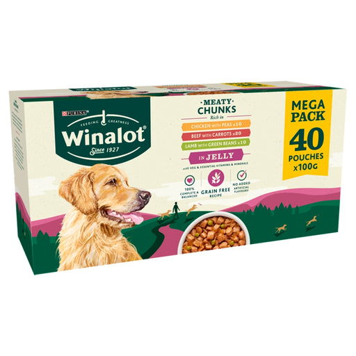 Winalot Meaty Chunks in Jelly Adult Wet Dog Food Pouches - 40 x 100g