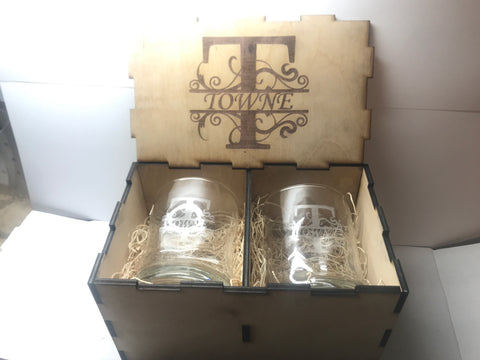 2pc Custom Whiskey Glass Set