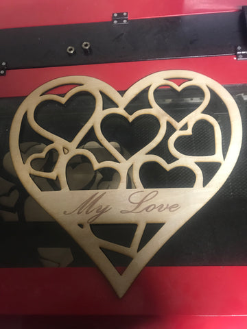 Custom Heart wood sign