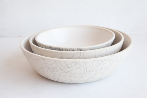 Nesting Serving Bowls in Crackle