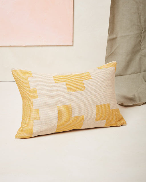 Puzzle Lumbar Pillow in Lemon