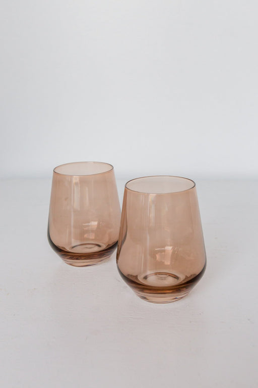 Stemless Wine Glasses in Amber Smoke