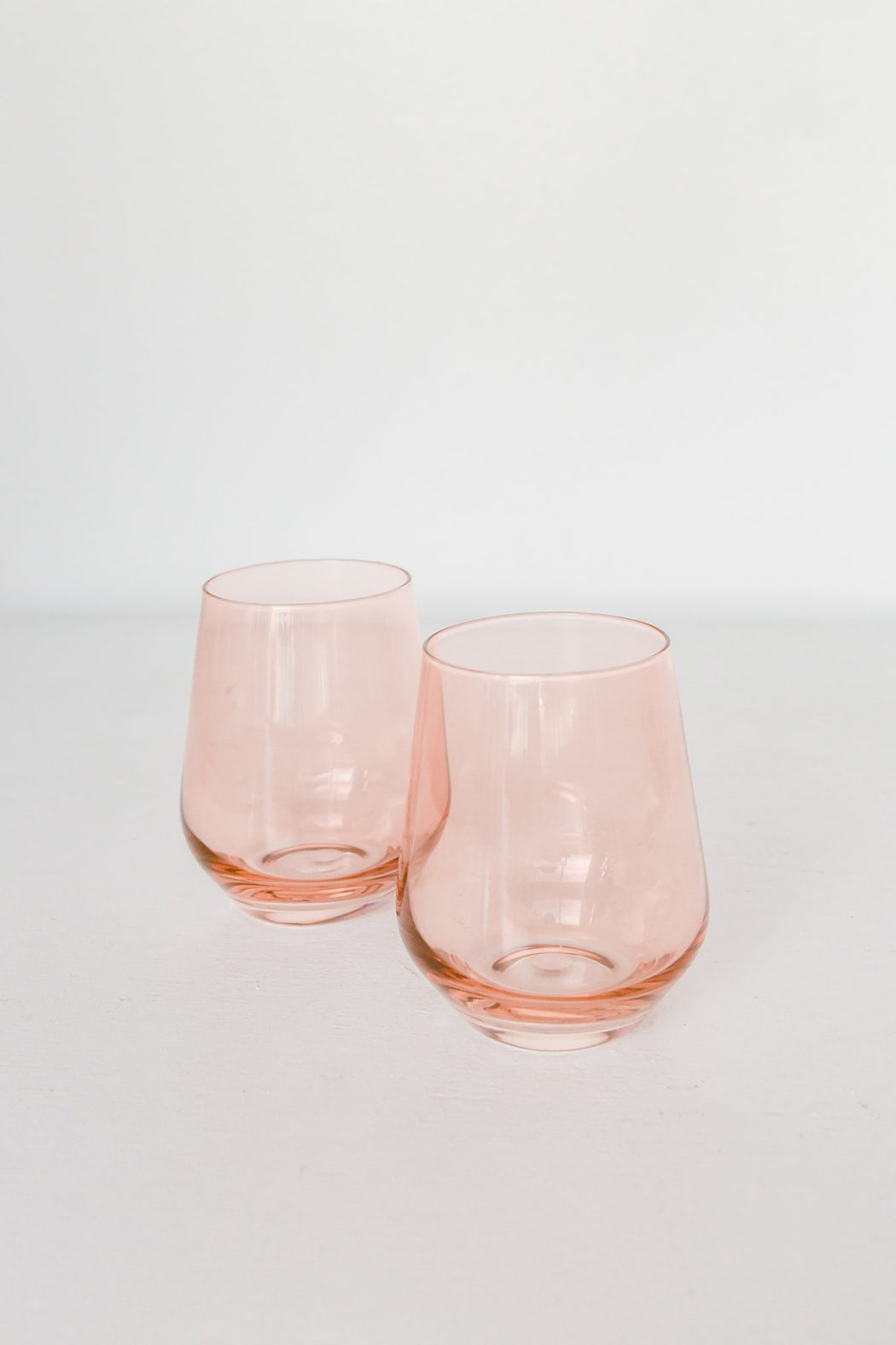 Stemless Wine Glasses in Blush Pink
