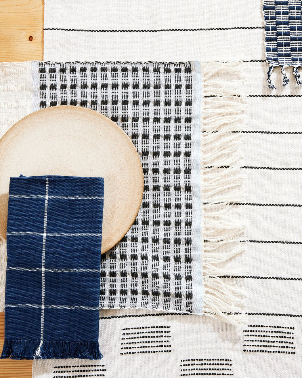 Grid Napkins in Indigo