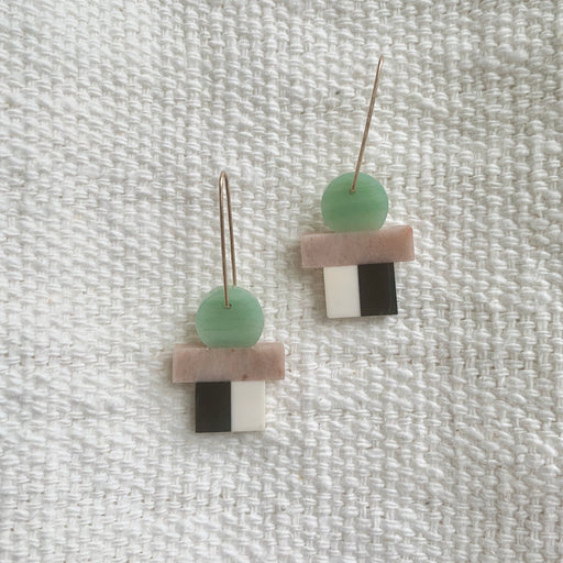 Howlite, Shale, Quartzite, & Aventurine Earrings