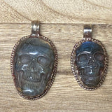 Labradorite Gemstone Carved Skull Pendant,Antique Looks, Tibetan Silver, Lotus Flower, Sugar Skull, Ethnic,Tribal, Himalayan Jewelry, Gothic