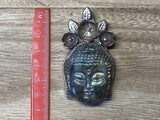 Large Labradorite Carved Buddha Pendant, Antique Looks Tibetan Silver, Floral Designs, Himalayan, Tribal, Ethnic, Yoga Jewelry, Peace, Nepal
