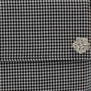 Houndstooth clutch bag - detachable diamante brooch detail