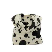 Load image into Gallery viewer, Cream & Brown Cow Print Shoulder Bag - Animal Print Slouch Bag